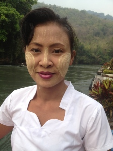 Early morning and this beautiful Mon woman was washing down by the River Kwai