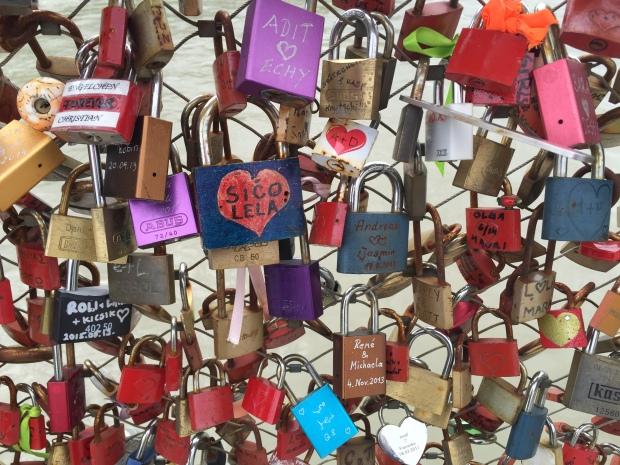 The love lock bridge in Salzburg